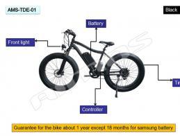 26 inch 500W beach snow fat tire electric bike